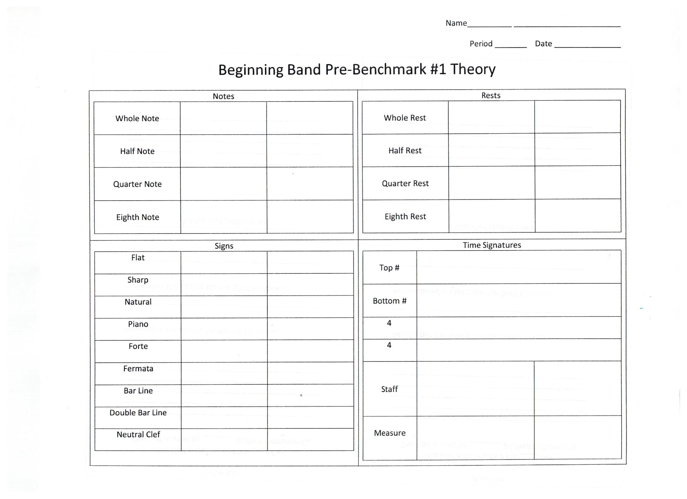 Documents to print at home James Workman Middle School Bands – Theory Worksheets for Beginning Bands